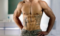 Quotes-and-Cross-Tattoo-on-Rib-for-Men